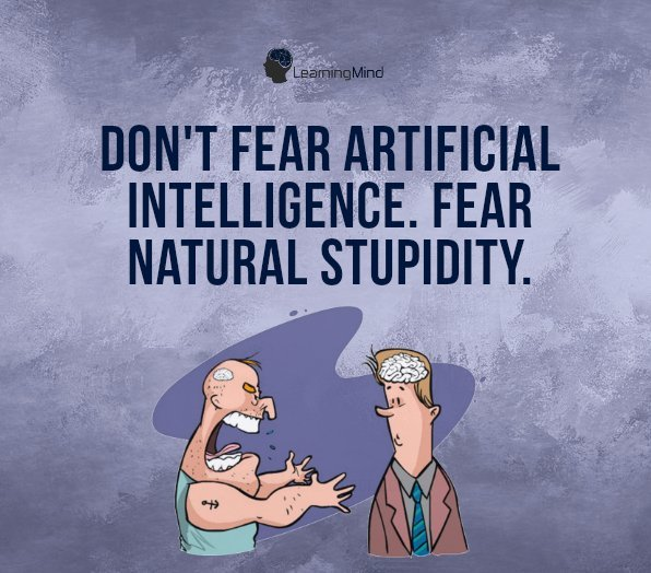 Don't fear artificial intelligence. Fear natural stupidity.