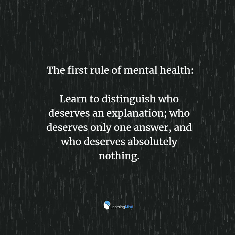 The first rule of mental health